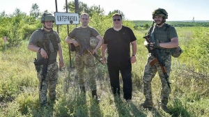 LITHUANIA'S FM LINKEVIČIUS VISITS THE FRONT LINE OF RUSSIA'S INVASION OF EUROPE IN UKRAINE